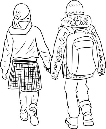Outline drawing of little boy and girl walking outdoor together Stock Illustratie