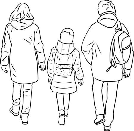 Outline drawing of parents with their daughter walking outdoors