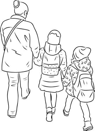Outline drawing of silhouettes mother with her little kids walking outdoors