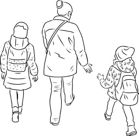 Outline drawing of woman with her little kid walking along street