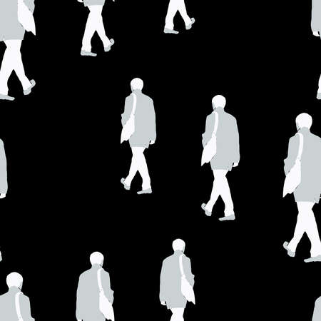 Seamless pattern of silhouettes casual citizens walking in row Stock Illustratie