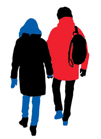 Vector drawing of silhouettes couple citizens walking along street together