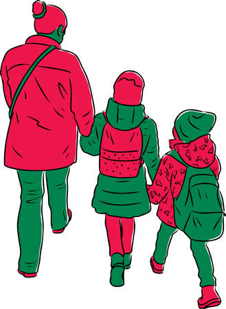 Vector drawing of silhouettes mother with her little daughters walking outdoors Stock Illustratie