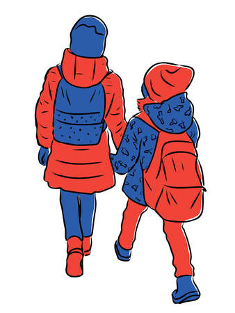 Vector drawing of two little schoolgirls walking along street together