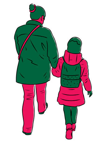 Vector drawing of woman with her child walking along street Stock Illustratie
