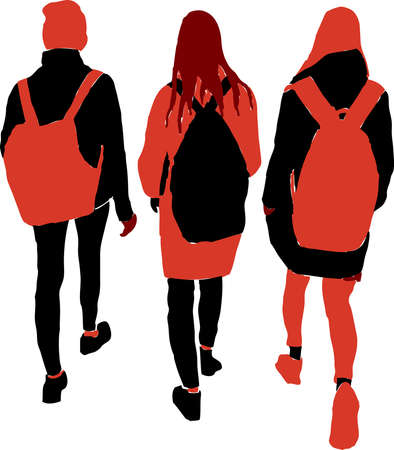 Vector idrawing of silhouettes three teens girls walking outdoors
