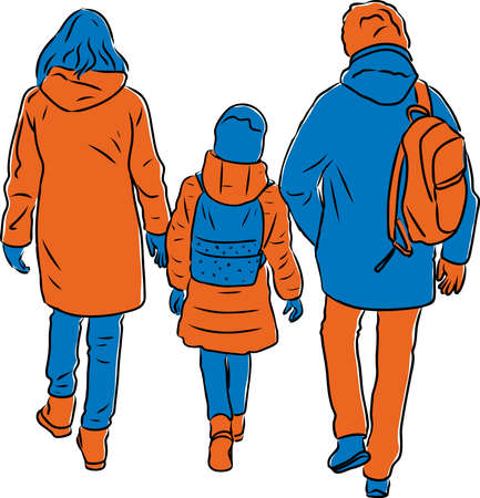 Vector illustration of parents with their daughter walking outdoors together