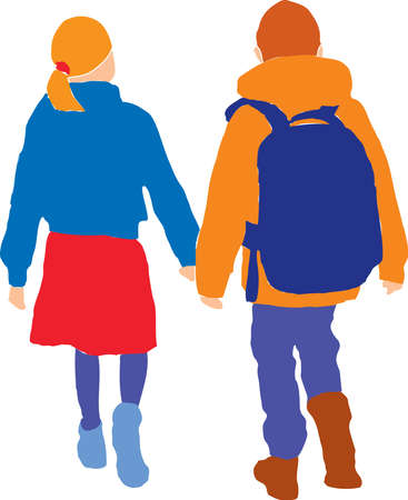 Vector image of colorful silhouettes of little girl and boy walking outdoors together