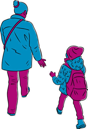 Vector image of woman with her little kid walking along street