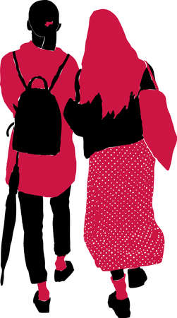 Vector image of silhouettes two friiends girls walking along street