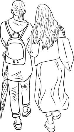 Vector outline image of two student girls walking outdoors together Stock Illustratie