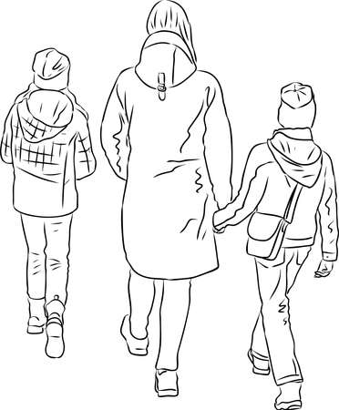 Outline drawing of mother with her children walking outdoors