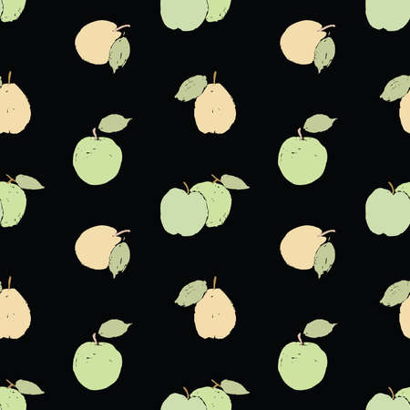 Seamless background of drawn green apples and yellow pears