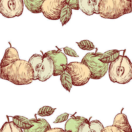 Seamless background of sketches green apples and yellow pears in rows Stock Illustratie
