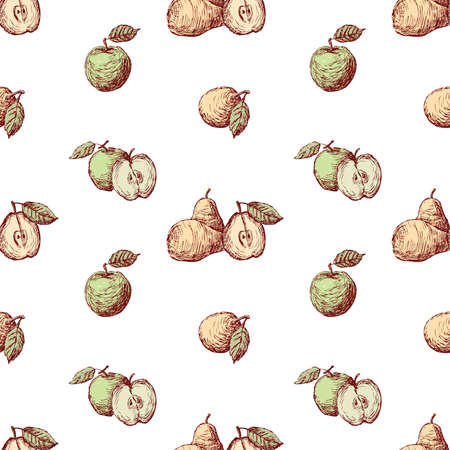 Seamless pattern of sketches green apples and yellow pears