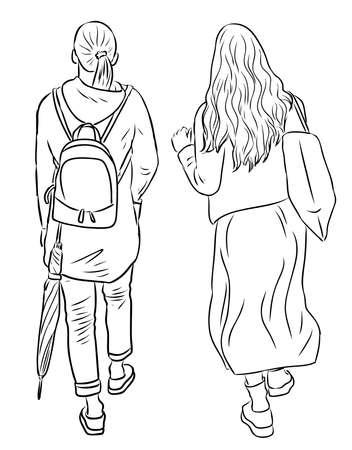 Vector contour drawing of teen girls walking along street 矢量图像