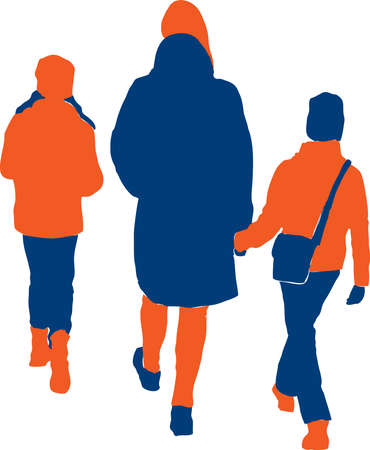 Vector drawing of silhouettes woman with her children walking outdoors
