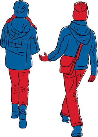 Vector drawing of two teen girls walking along street