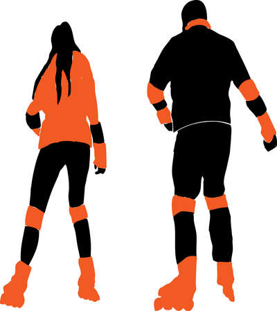 Vector idrawing of silhouettes father and his daughter riding on roller skates