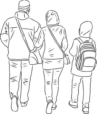 Vector contour drawing of family townspeople walking outdoors