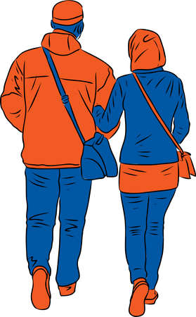 Vector drawing of couple townspeople walking outdoors Stock Illustratie