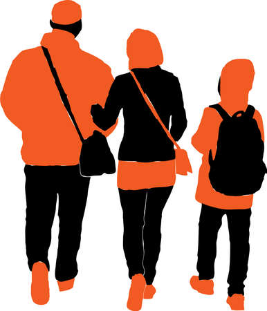 Vector drawing of silhouettes family townspeople walking outdoors Stock Illustratie