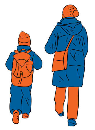 Vector drawing of mother with her little kid walking outdoors together Stock Illustratie