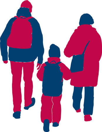 Vector drawing of silhouette family casual townspeople walking on a stroll
