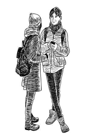 Sketch of couple students standing and talking outdoors Stock Illustratie