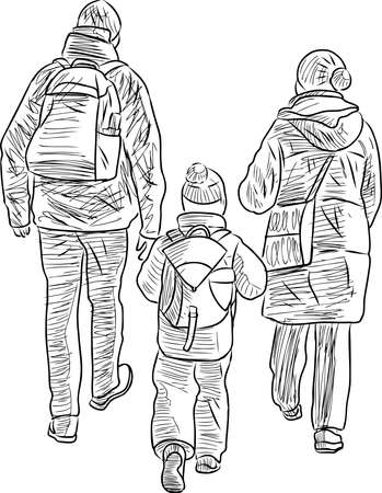 Vector sketch of family casual citizens walking outdoors