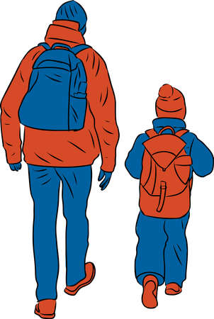 Vector illustration of silhouettes father and his kid walking along street