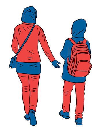 Vector image of mother and daughter walking outdoors together