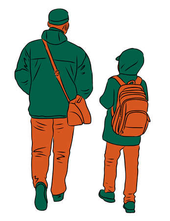Vector drawing of father and son walking outdoors together