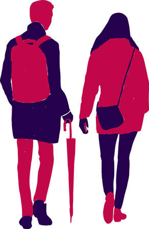 Vector image of silhouettes young people with umbrella walking outdoors