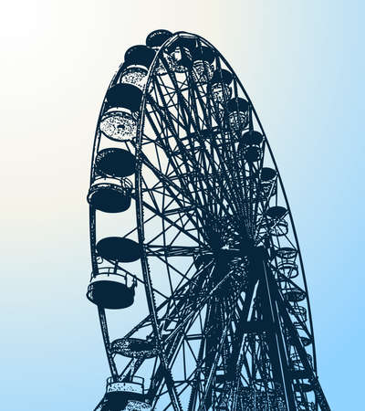 Vector drawing of silhouette survey wheel in a city amusement park