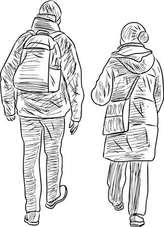 Vector sketches of couple citizens walking outdoors