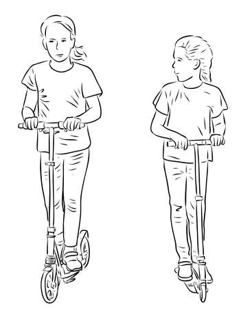 Vector outline drawing of little girls riding the scooters