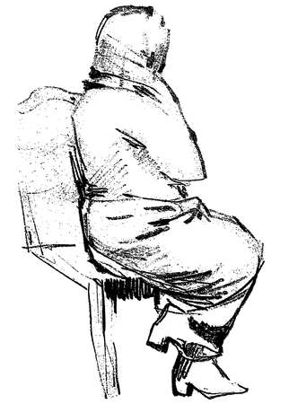 Freehand drawing of a woman sitting on the chair