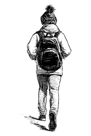 Sketch of city woman in cap and with backpack walking down street
