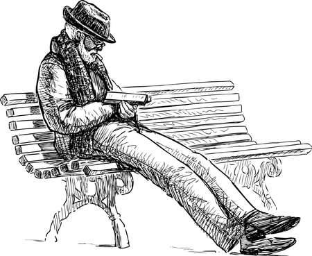 Sketch of elderly bearded man in hat sitting and reading book on park bench