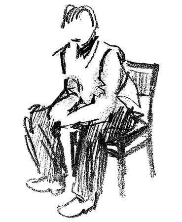 Pencil outline drawing of a person sitting on the chair