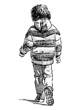 Freehand drawing of little kid in jacket walking along street