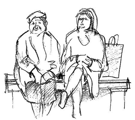 Freehand pencil drawing of two old women sitting on the park bench Stock Illustratie