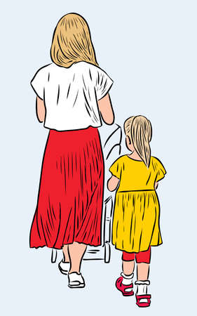 Vector illustration of young mother with her kids strolling together on summer day