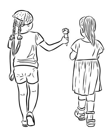 Outline drawing of two little girls walking outdoors on summer day
