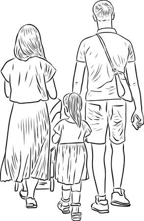 Contour drawing of young family walking on a stroll together