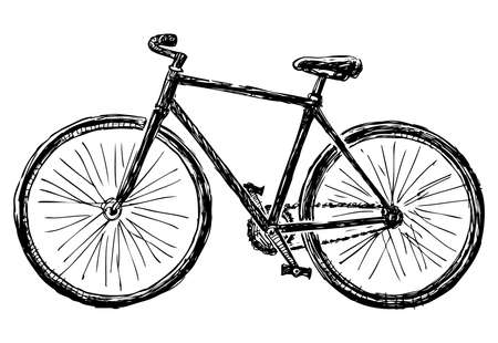 Freehand drawing of bicycle for active walks