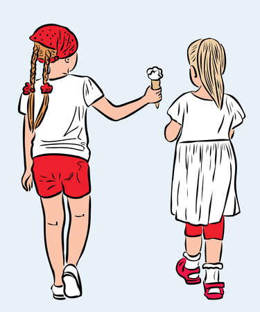 Vector iimage of two little girls strolling together on summer day
