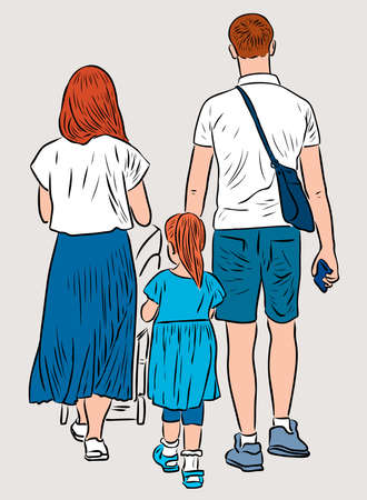 Vector illustration of young family strolling together on summer day Vettoriali