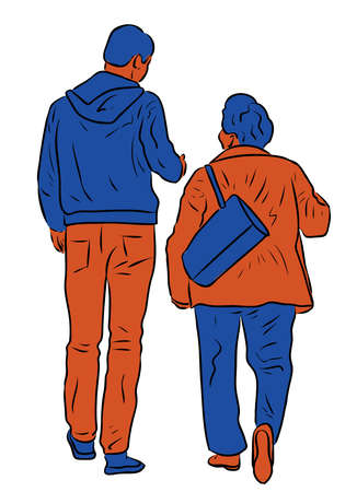 Vector image of elderly woman with her adult son walking together outdoors and talking